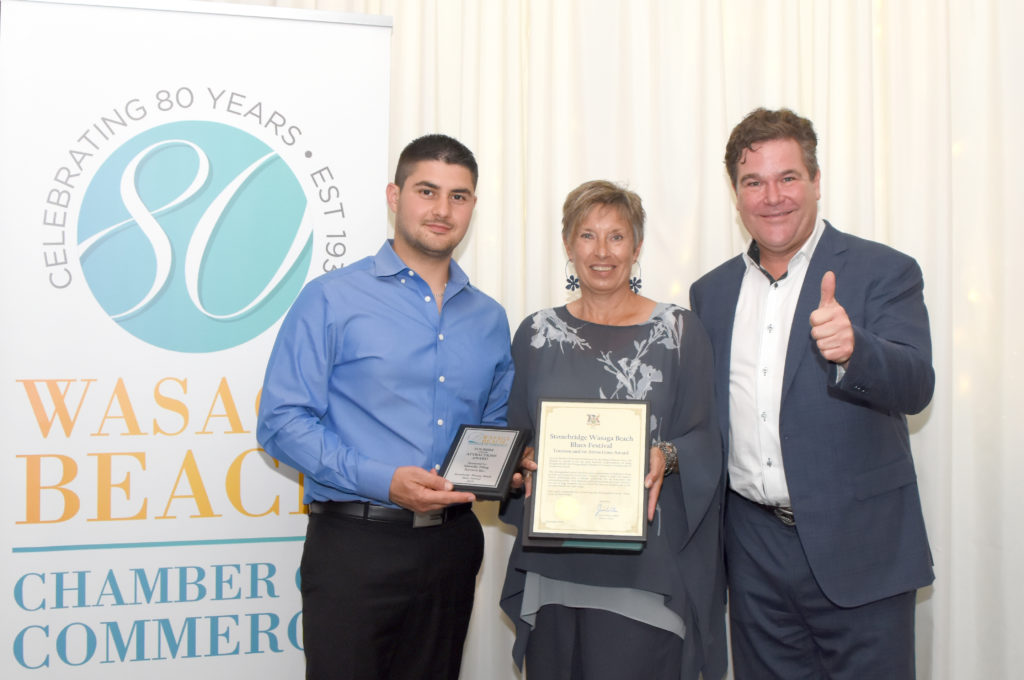 Salvatore Della Bruna, Kathy Mulgrew, Mark Crowe - 2019 Chamber of Commerce Tourism and Attractions Award - Stonebridge Wasaga Beach Blues